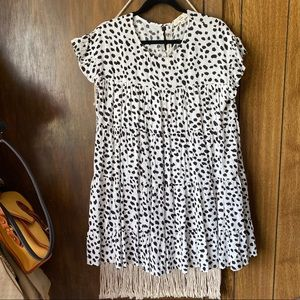 New Entro White Spotted Babydoll Tiered Dress S